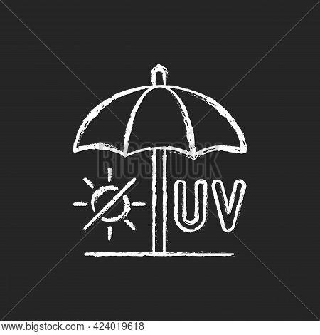 Seek Shade Chalk White Icon On Dark Background. Hide Under Umbrella On Beach During Summer. Uv Rays