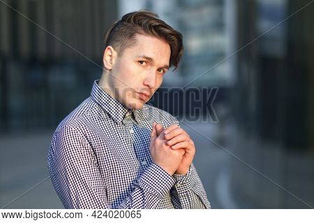 Portrait Of Serious Pretty Nice Guy, Young Offended Frustrated Sad Unhappy Man In Shirt Standing Out