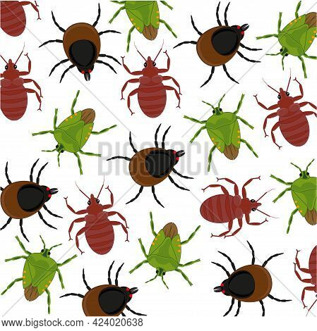 Vector Illustration Insect Bedbug, Mite And Flea Pattern