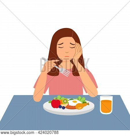 Woman Feel Not Hungry Concept Vector Illustration On White Background. Female Unable To Eat.