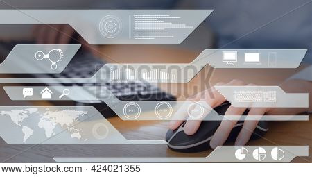 Digital interface with data processing against mid section of person using computer. global business and technology concept