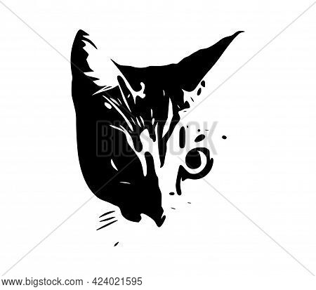 Cat Face Art On A White Background. Vector Illustration Of A Cats Gaze.