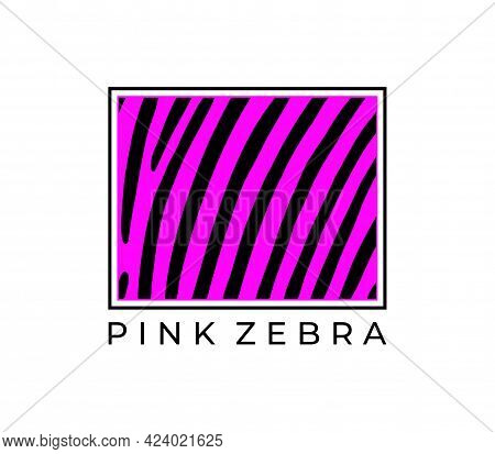 Frame With A Print Of A Pink Zebra On A White Background. Vector Illustration.