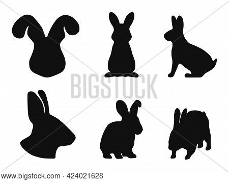 A Set Of Rabbit Silhouettes On A White Background. Vector Illustration