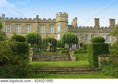 Corby, U.k., 6 May 2021. Dene Park Castle. Old Big Medieval Traditional English Castle Building With