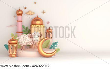 Eid Al Adha Islamic Decoration Display Podium Background With Goat Sheep Lantern Crescent Mosque, Ra