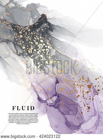 Violet Watercolor Ink Background, Purple Alcohol Ink Texture Design. Acrylic Ink Oil Painting Black