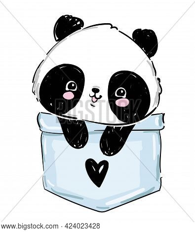 Hand Drawn Panda Sitting In A Pocket. Sketch Graphic Panda Bear Vector Stock. Element For Design. Tr