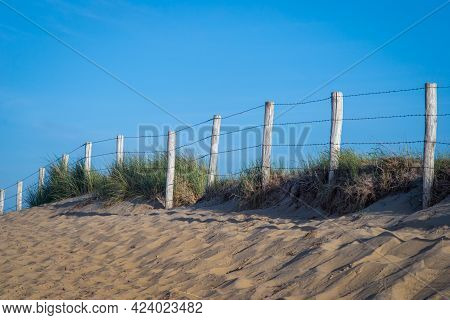 Wooden Poles, Barbed Wire And Sandy Path Through The Dunes, Netherlands