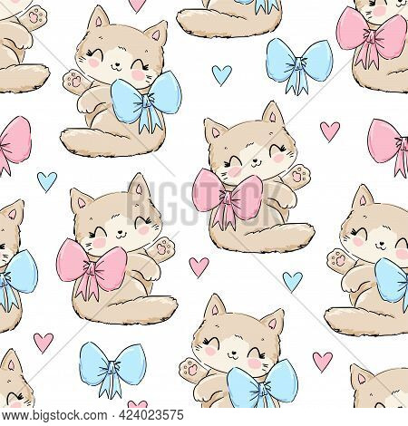 Cute Cat With Bow Vector Seamless Pattern, Print Design Kitty, Children Print On T-shirt.