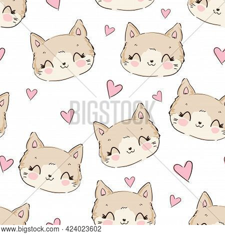 Cute Cat And Heart Vector Sweet Sketch Seamless Pattern, Print Design Kitty, Children Print On T-shi