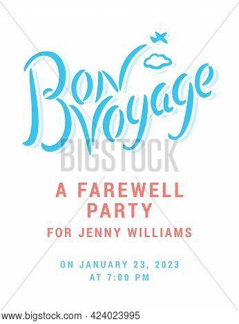 Bon Voyage. Vector Farewell Party Invitation. Vector Illustration.