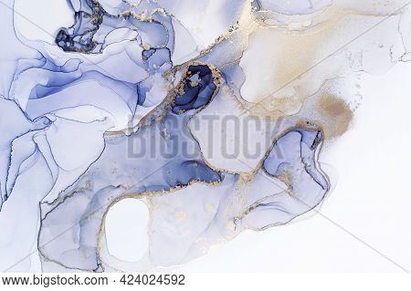 Abstract Hand Painted Alcohol Ink Texture. Semiprecious Surface Effect. Gold And Blue Colors. Creati