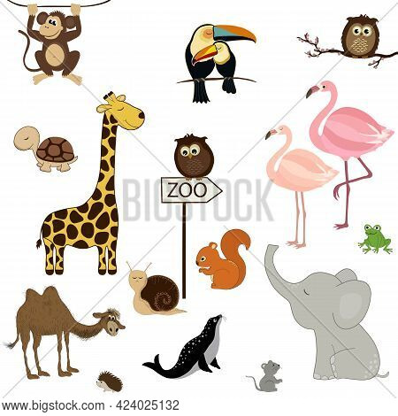 Card With Cute Cartoon Animals On White Background. Zoo Pattern
