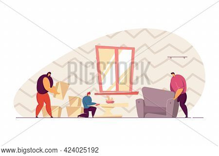 Family Arranging Furniture In New House Flat Vector Illustration. People Establishing And Cleaning H