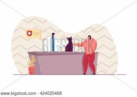 Girl Bringing Dog To Veterinary Clinic Flat Vector Illustration. Veterinarian Examining Pet. Owner,
