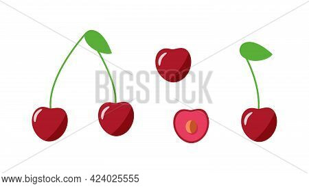 Cherry Whole With A Leaf, Half A Cherry Berry With A Stone. Vector Illustration Of A Set Of Fresh Ch