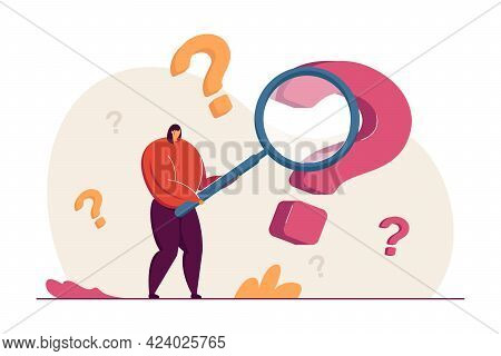 Cartoon Woman Searching For Answers To Questions. Flat Vector Illustration. Female Person Or Analyst
