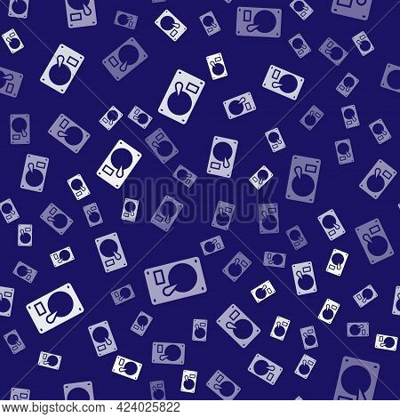 White Hard Disk Drive Hdd Icon Isolated Seamless Pattern On Blue Background. Vector Illustration
