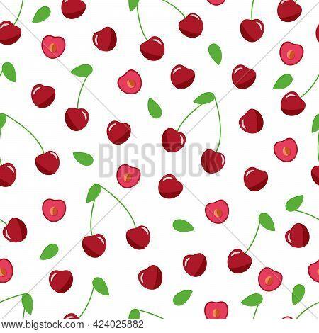 Seamless Pattern Of Red Cherries, Vector Illustration Of Ripe Berries, Wallpaper.