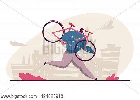 Cartoon Man In Mask Stealing Bicycle. Flat Vector Illustration. Thief Holding Pink Bike, Running Awa