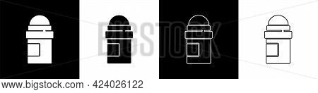 Set Antiperspirant Deodorant Roll Icon Isolated On Black And White Background. Cosmetic For Body Hyg