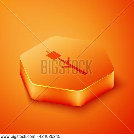 Isometric Marshmallow On Stick Icon Isolated On Orange Background. Orange Hexagon Button. Vector