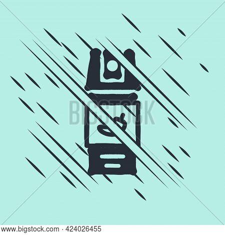 Black Pepper Spray Icon Isolated On Green Background. Oc Gas. Capsicum Self Defense Aerosol. Glitch