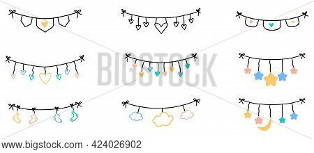 Hand Drawn Hanging Ribbons. Heart Icon With Stars In Doodle Style. Hand Drawn Flat Colored Flags. Ve