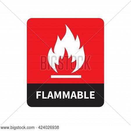 Flammable Icon Isolated On White Background. Flammable Warning Sign. Vector Illustration.