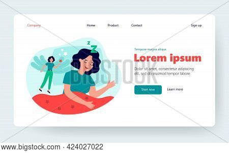 Happy Woman Lucid Dreaming In Rem Sleep State Isolated Flat Vector Illustration. Cartoon Character H
