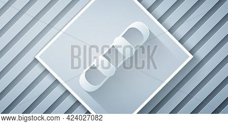 Paper Cut Snowboard Icon Isolated On Grey Background. Snowboarding Board Icon. Extreme Sport. Sport