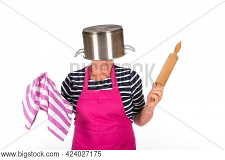 Funny elder woman with pan on the head isolated over white background