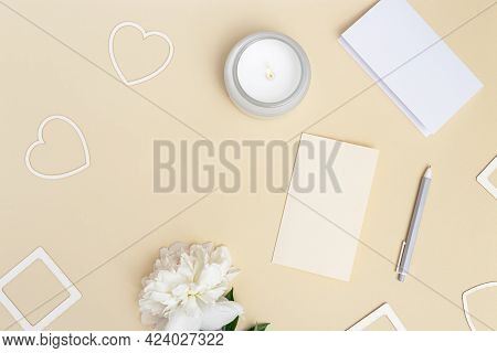 Desktop For Romantic Holiday With White Peony Flower, Empty Paper For Writing Congratulations, Heart
