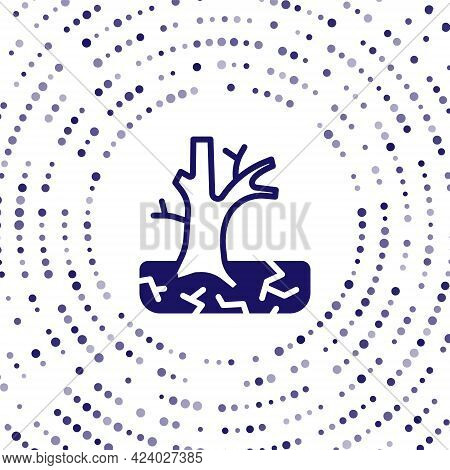 Blue Withered Tree Icon Isolated On White Background. Bare Tree. Dead Tree Silhouette. Abstract Circ