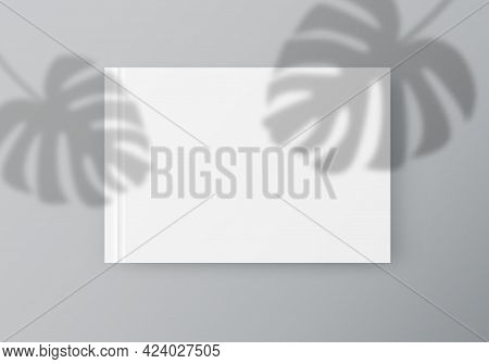 White Sheet Of Paper With Tropical Leaves Overlay Shadow. Flyer, Postcard, Poster, Letterhead, Socia