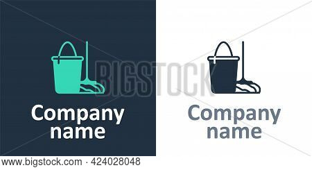Logotype Mop And Bucket Icon Isolated On White Background. Cleaning Service Concept. Logo Design Tem