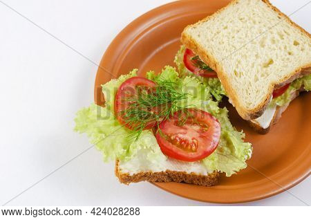 Vegetable Sandwiches And Brown Clay Plate On White Background. Square Sandwiches With Tomato, Lettuc