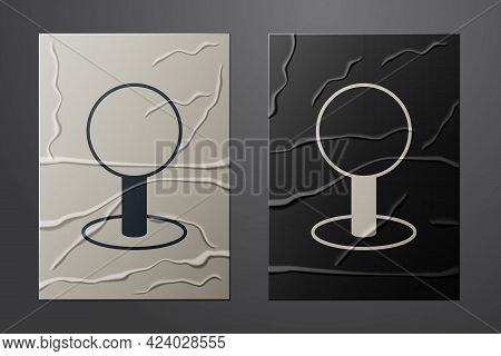 White Push Pin Icon Isolated On Crumpled Paper Background. Thumbtacks Sign. Paper Art Style. Vector