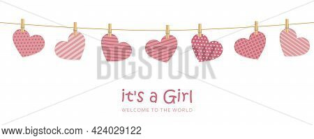 Its A Girl Welcome Greeting Card For Childbirth