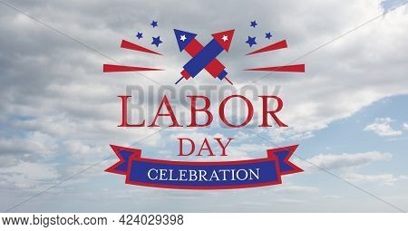 Happy labor day text and fireworks icons against american flag on wooden background. american labor day template background design concept