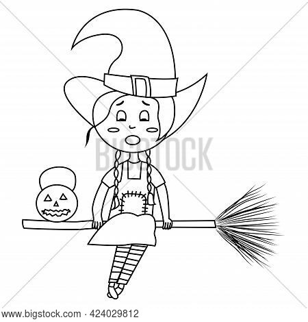 Coloring Page Happy Halloween Vector Illustration. Witch Flying On Broomstick With Pumpkin. Hallowee