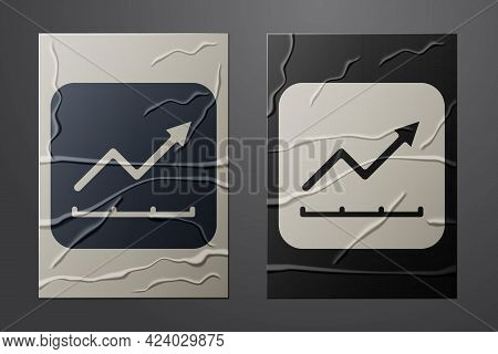 White Financial Growth Increase Icon Isolated On Crumpled Paper Background. Increasing Revenue. Pape