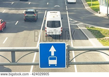 Highway And Road Sign - Dedicated Lane For Bus, Public Transport.
