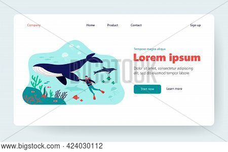 Tiny Diver Swimming Underwater Isolated Flat Vector Illustration. Cartoon Character Near Big Whale A