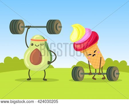 Cute Avocado And Ice Cream Characters Exercising With Dumbbells. Sad Cartoon Confection Trying To Li