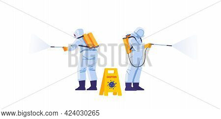 Disinfection By Cleaning Service. Prevention Controlling Epidemic Of Coronavirus Covid-2019. Worker