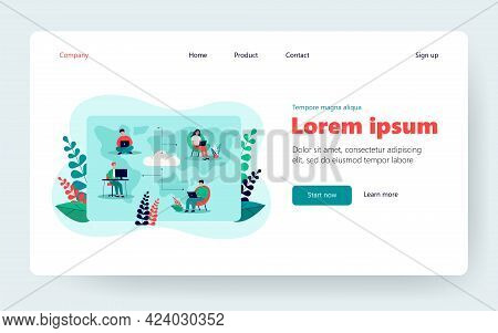 Distant Workers Using Cloud System In Work And Data Storage Flat Vector Illustration. Cartoon Employ