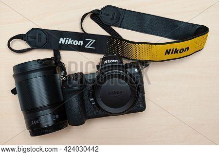 Fuji City, Shizuoka Ken, Japan - May 23, 2021: Nikon Z 7ii Mirrorless Digital Camera Body With Neck