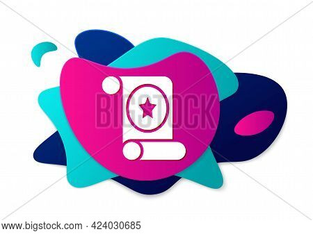 Color Magic Scroll Icon Isolated On White Background. Decree, Paper, Parchment, Scroll Icon. Abstrac